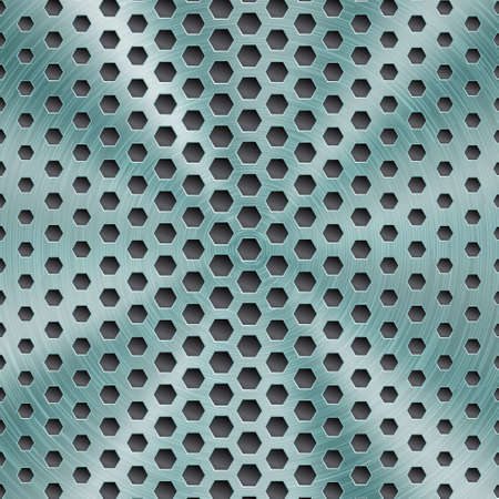 Abstract shiny metal background in light blue color with circular brushed texture and hexagonal holes