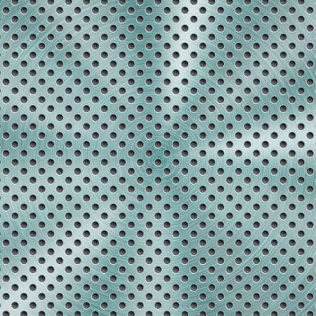 Abstract shiny metal background in light blue color with circular brushed texture and round holes