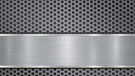 Arrière-plan en couleurs grises, composé d'une surface perforée métallique avec des trous et d'une plaque polie avec une texture métallique, des reflets et des bords brillants