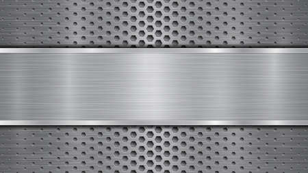 Arrière-plan en couleurs grises, composé d'une surface perforée métallique avec des trous et d'une plaque polie avec une texture métallique, des reflets et des bords brillants Vecteurs