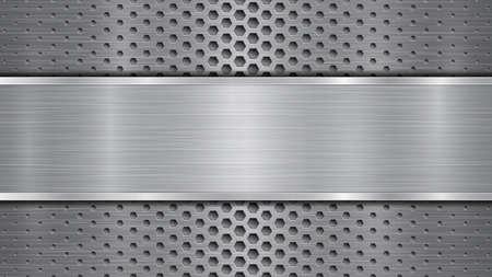 Sfondo in colori grigi, costituito da una superficie metallica perforata con fori e una lastra lucida con struttura metallica, riflessi e bordi lucidi Vettoriali