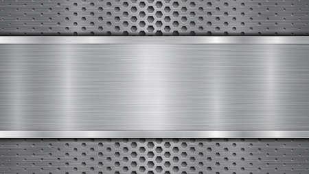 Sfondo in colori grigi, costituito da una superficie metallica perforata con fori e una lastra lucida con struttura metallica, riflessi e bordi lucidi