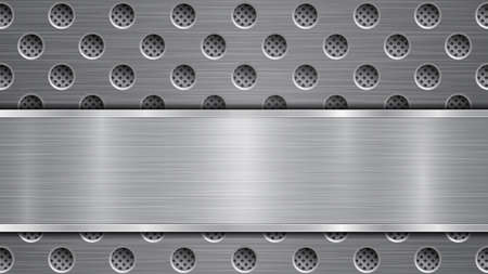 Background in gray colors, consisting of a metallic perforated surface with holes and a polished plate with metal texture, glares and shiny edges