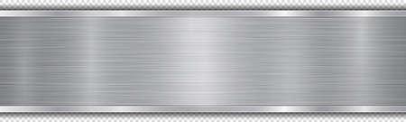 Placca lucida nei colori argento con struttura in metallo, riflessi e bordi lucidi. Con ombra su sfondo trasparente