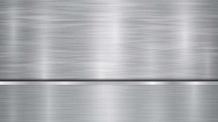 Hintergrund in silbernen und grauen Farben, bestehend aus einer glänzenden Metalloberfläche und einer horizontalen polierten Platte, die sich darunter befindet, mit Metallstruktur, Blendungen und brünierten Kanten