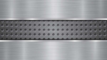 Background in silver and gray colors, consisting of a perforated metallic surface with holes and two horizontal polished plates located above and below, with a metal texture, glares and shiny edges