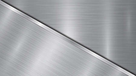 Background in silver and gray colors, consisting of a shiny metallic surface and one big polished plate located in diagonal, with a metal texture, glares and burnished edge