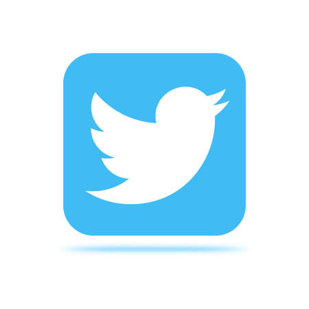 VORONEZH, RUSSIA - JANUARY 31, 2020: Twitter logo light blue square icon with shadow