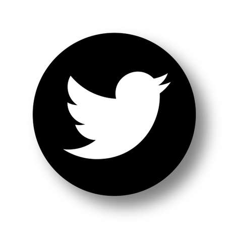 VORONEZH, RUSSIA - JANUARY 31, 2020: Twitter logo black round icon with soft shadow Editorial