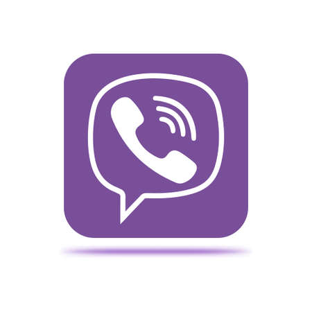 VORONEZH, RUSSIA - JANUARY 31, 2020: Viber logo purple square icon with shadow