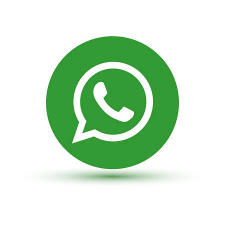VORONEZH, RUSSIA - JANUARY 31, 2020: Whatsapp logo green round icon with shadow