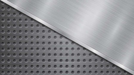 Background in silver and gray colors, consisting of a perforated metallic surface with holes and one big polished plate located in diagonal, with a metal texture, glares and shiny edge