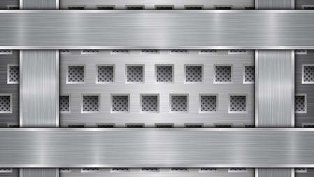 Background in silver and gray colors, consisting of a perforated metallic surface with holes and vertical and horizontal polished plates located on four sides, with a metal texture and shiny edges Illustration
