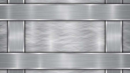Background in silver and gray colors, consisting of a shiny metallic surface and vertical and horizontal polished plates located on four sides, with a metal texture, glares and burnished edges Illustration