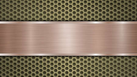 Background of golden perforated metallic surface with holes and horizontal bronze polished plate with a metal texture, glares and shiny edges