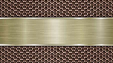 Background of bronze perforated metallic surface with holes and horizontal golden polished plate with a metal texture, glares and shiny edges