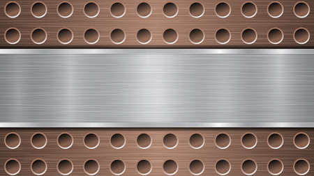 Background of bronze perforated metallic surface with holes and horizontal silver polished plate with a metal texture, glares and shiny edges Ilustracja