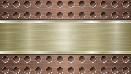 Background of bronze perforated metallic surface with holes and horizontal golden polished plate with a metal texture, glares and shiny edges Ilustracja