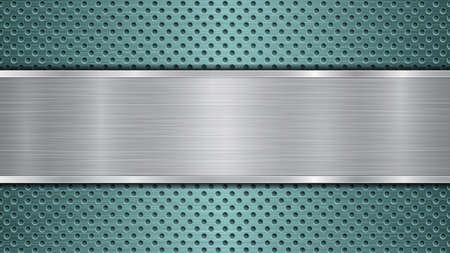 Background of light blue perforated metallic surface with holes and horizontal silver polished plate with a metal texture, glares and shiny edges