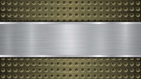 Background of golden perforated metallic surface with holes and silver horizontal polished plate with a metal texture, glares and shiny edges