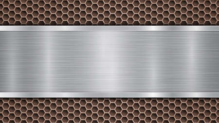 Background of bronze perforated metallic surface with holes and horizontal silver polished plate with a metal texture, glares and shiny edges Çizim