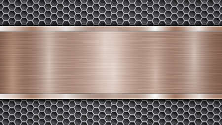 Background of silver perforated metallic surface with holes and horizontal bronze polished plate with a metal texture, glares and shiny edges Çizim