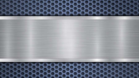 Background of blue perforated metallic surface with holes and horizontal silver polished plate with a metal texture, glares and shiny edges