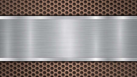 Background of bronze perforated metallic surface with holes and horizontal silver polished plate with a metal texture, glares and shiny edges