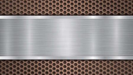 Tło z brązowej perforowanej metalicznej powierzchni z otworami i poziomą srebrną polerowaną płytą z metalową fakturą, odblaskami i błyszczącymi krawędziami