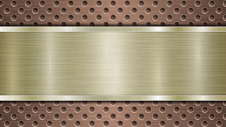 Background of bronze perforated metallic surface with holes and horizontal golden polished plate with a metal texture, glares and shiny edges Çizim