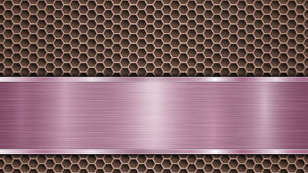 Background of bronze perforated metallic surface with holes and horizontal purple polished plate with a metal texture, glares and shiny edges