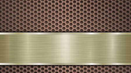 Background of bronze perforated metallic surface with holes and horizontal golden polished plate with a metal texture, glares and shiny edges 矢量图像