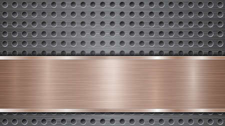 Background of silver perforated metallic surface with holes and horizontal bronze polished plate with a metal texture, glares and shiny edges Illustration
