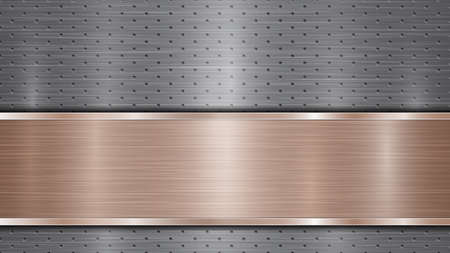 Background of silver perforated metallic surface with holes and horizontal bronze polished plate with a metal texture, glares and shiny edges Illusztráció