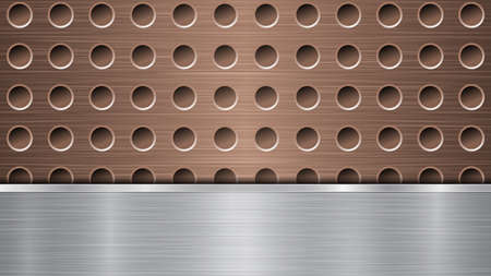 Background of bronze perforated metallic surface with holes and horizontal silver polished plate with a metal texture, glares and shiny edges 矢量图像
