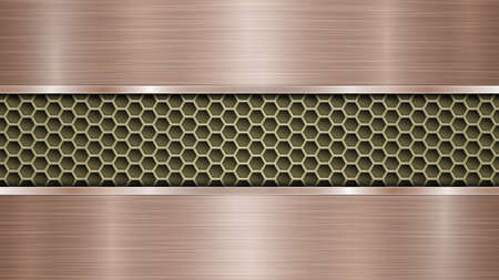 Background of golden perforated metallic surface with holes and two horizontal bronze polished plates with a metal texture, glares and shiny edges  イラスト・ベクター素材