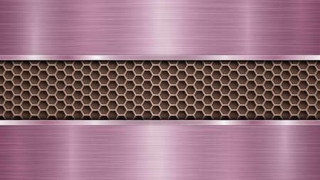 Background of bronze perforated metallic surface with holes and two horizontal purple polished plates with a metal texture, glares and shiny edges
