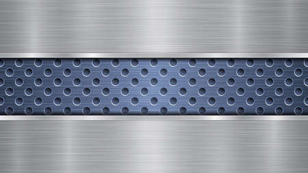 Background of blue perforated metallic surface with holes and two horizontal silver polished plates with a metal texture, glares and shiny edges Illustration