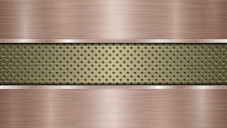 Background of golden perforated metallic surface with holes and two horizontal bronze polished plates with a metal texture, glares and shiny edges Ilustración de vector