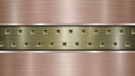 Background of golden perforated metallic surface with holes and two horizontal bronze polished plates with a metal texture, glares and shiny edges