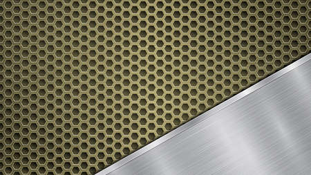 Background of golden perforated metallic surface with holes and angled silver polished plate with a metal texture, glares and shiny edges