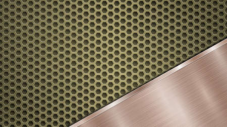 Background of golden perforated metallic surface with holes and angled bronze polished plate with a metal texture, glares and shiny edges