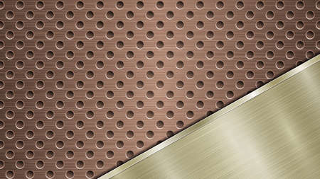 Background of bronze perforated metallic surface with holes and angled golden polished plate with a metal texture, glares and shiny edges