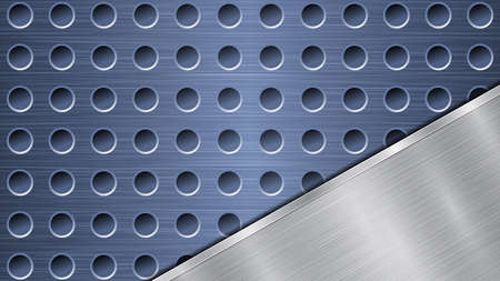 Background of blue perforated metallic surface with holes and angled silver polished plate with a metal texture, glares and shiny edges