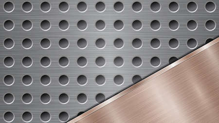 Background of silver perforated metallic surface with holes and angled bronze polished plate with a metal texture, glares and shiny edges