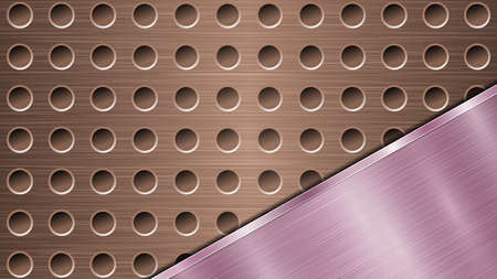 Background of bronze perforated metallic surface with holes and angled purple polished plate with a metal texture, glares and shiny edges