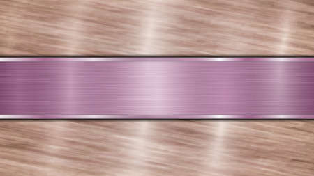 Background consisting of a bronze shiny metallic surface and one horizontal polished purple plate located centrally, with a metal texture, glares and burnished edges Illustration