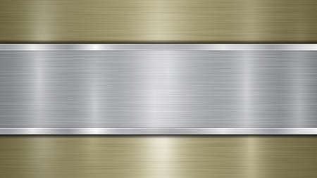 Background consisting of a golden shiny metallic surface and one horizontal polished silver plate located centrally, with a metal texture, glares and burnished edges