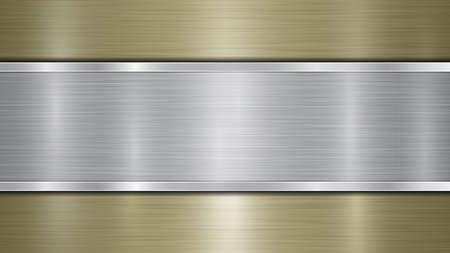 Fondo costituito da una superficie metallica lucida dorata e da una lamina argentata lucida orizzontale posta centralmente, con trama metallica, bagliori e bordi bruniti