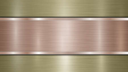 Background consisting of a golden shiny metallic surface and one horizontal polished bronze plate located centrally, with a metal texture, glares and burnished edges